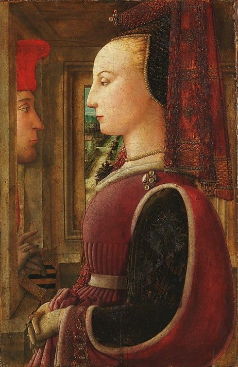 Portrait Fra Filippo Lippi (Italian Renaissance painter, c 1406–1469) also called Lippo Lippi, Portrait of a Woman with a Man at a Casement