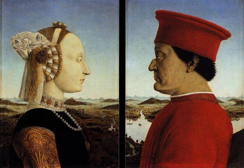 Potrait double Piero_della_Francesca_-_Portraits_of_Federico_da_Montefeltro_and_His_Wife_Battista_Sforza_-_WGA17626