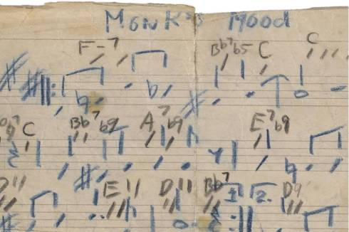 Music Monk-Thelonious-Sphere-Autograph-musical-manuscript-signed-Thelonious-M-Monks-Mood-detail