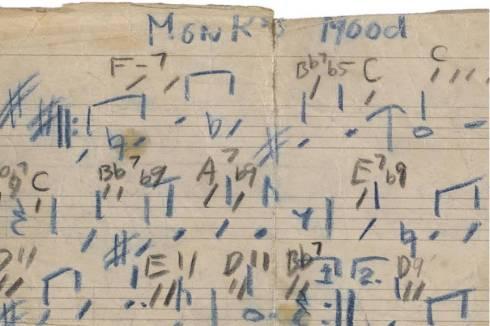 Music Monk-Thelonious-Sphere-Autograph-musical-manuscript-signed-Thelonious-M-Monks-Mood-detail