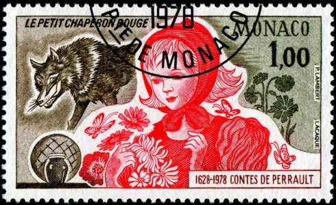 Stamp LacaqueMonaco-1119-LittleRed-Perrault-MG-11-8-78-PLambert
