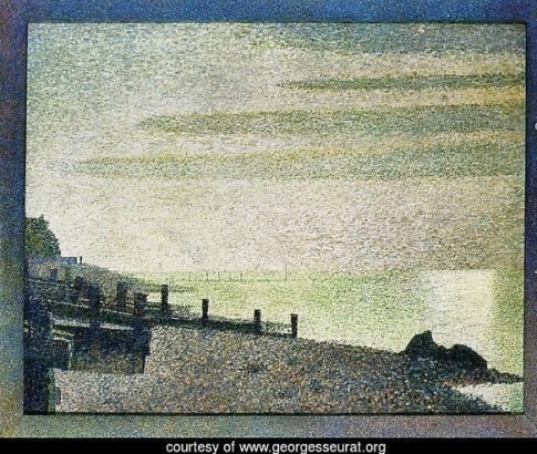 Spots G Seurat Evening-At-Honfleur